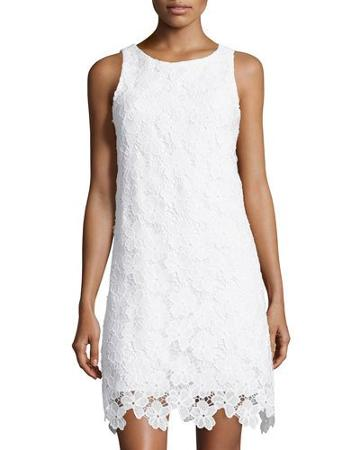 Floral-lace Sleeveless Dress, White