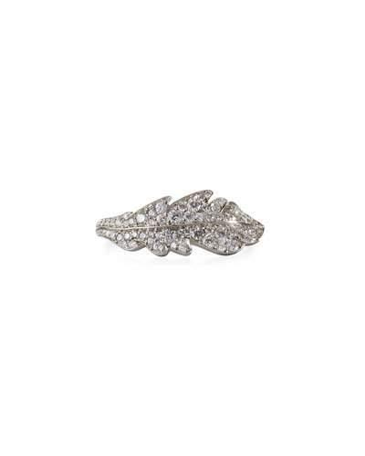 Phoenix 18k White Gold Large Pave Diamond Feather Ring,
