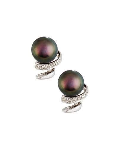 14k Black Freshwater Pearl & Diamond Swirl