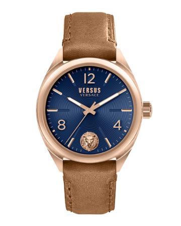 Men's 44mm Guilloche Watch W/ Leather Strap, Blue/tan