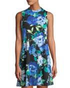 Mock-neck Sleeveless Floral-print Dress