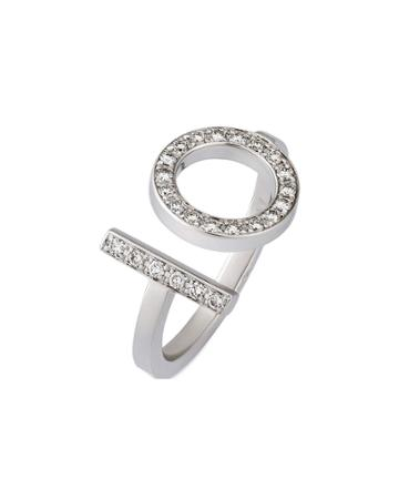 Estate 18k White Gold Diamond Ring,