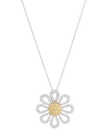 18k Gold 2-tone Daisy Pendant Necklace