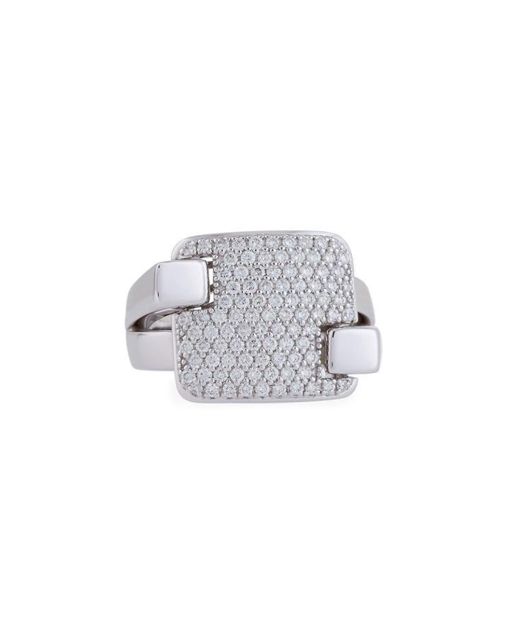 18k White Gold Diamond Pave Square Ring,