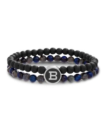 Men's Two-row Mixed-bead Bracelet, Black/gray/navy