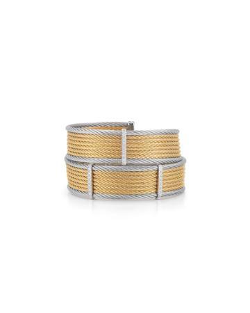 18k Gold Two-tone Wide Bangle W/ Diamonds