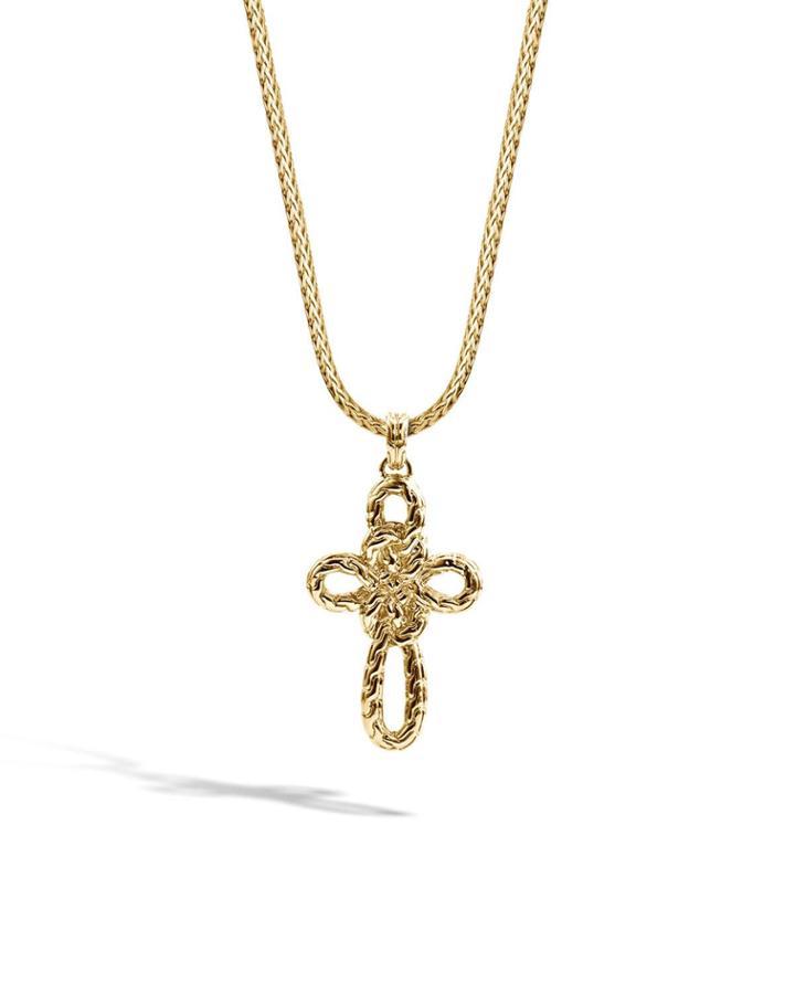 Classic Chain 18k Gold Cross Pendant Necklace