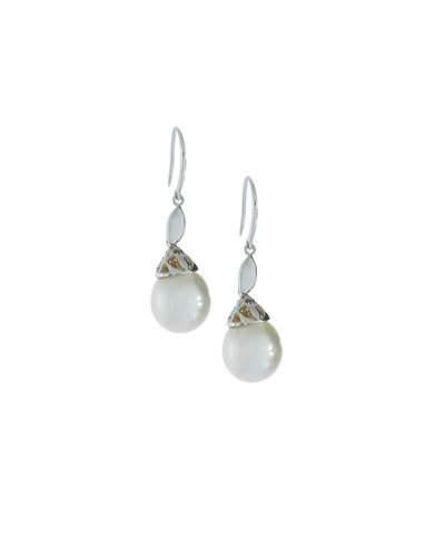 14k Freshwater Pearl & Diamond Drop Earrings