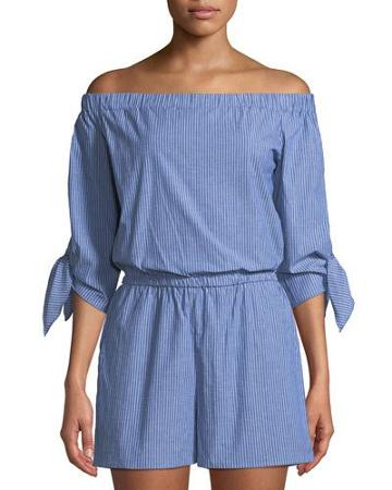 Pinstripe Off-the-shoulder Romper