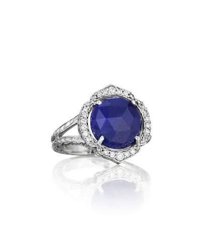18k Rose-cut Sapphire & Diamond Cocktail Ring,