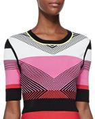 Chevron-pattern Knit Crop Top