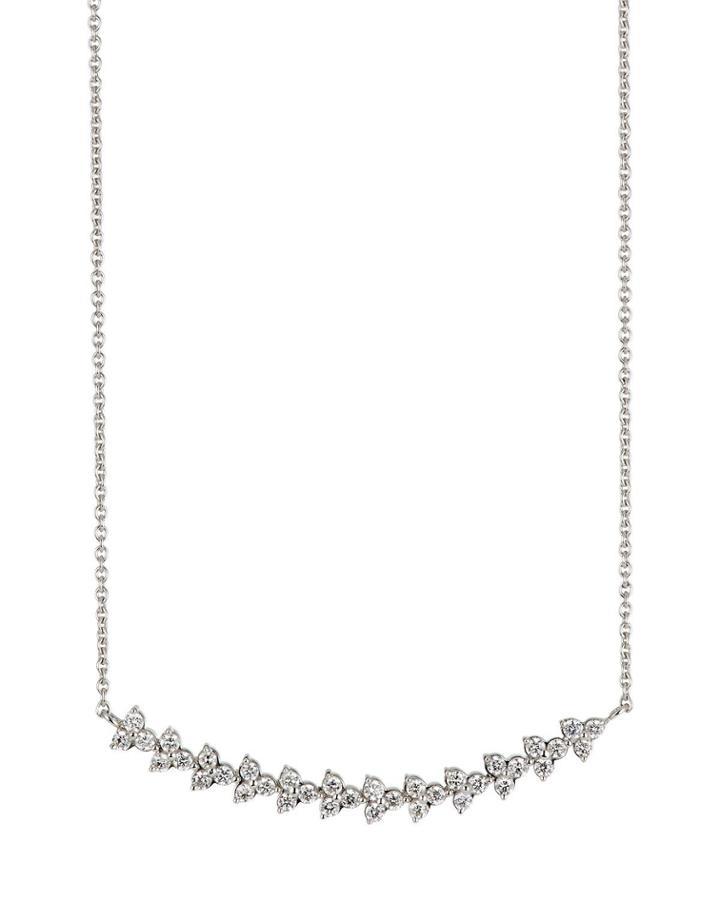 18k White Gold Diamond Curved Pendant Necklace