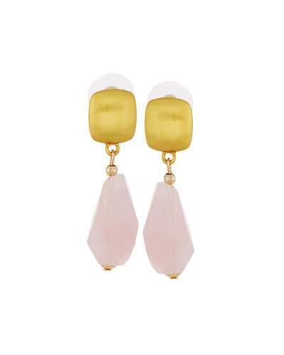 Golden Glass Rose Quartz Drop Earrings