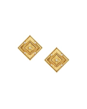Estate 18k Gold Square Stud & Diamond Earrings