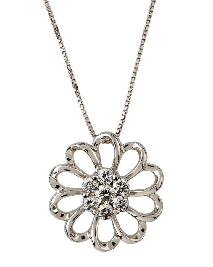 18k White Gold Open Flower Pendant Necklace W/ Diamonds