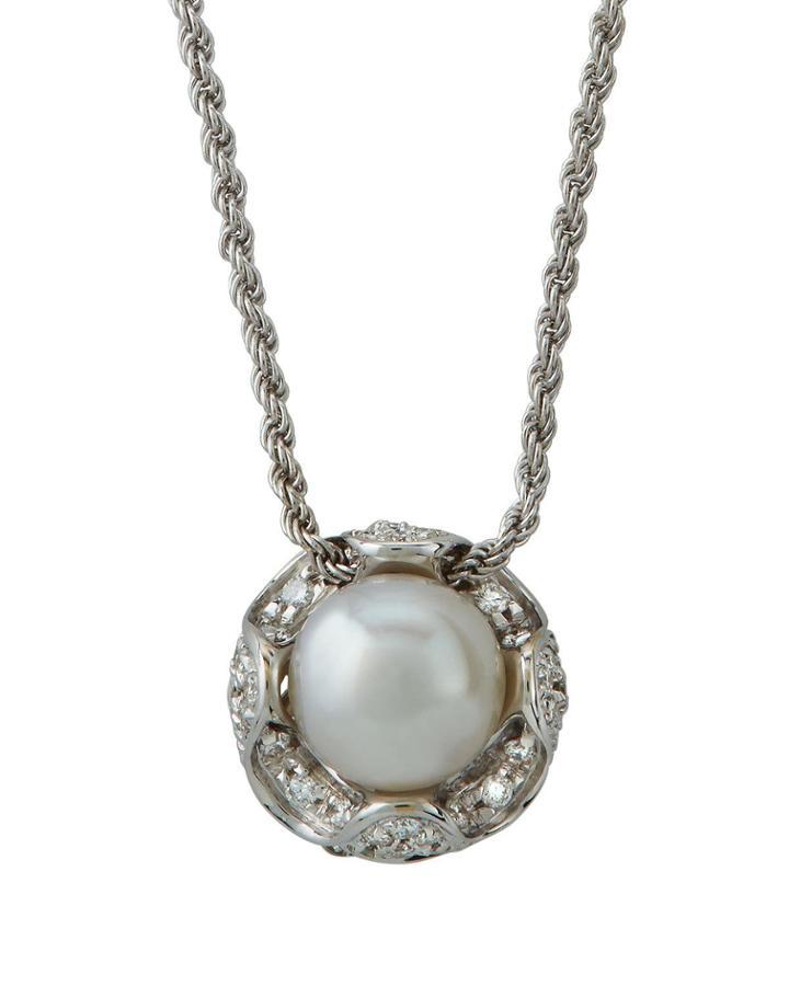 18k White Gold Pearl & Diamond Pendant Necklace