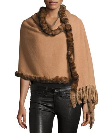 Rabbit Fur-trim Wool Wrap
