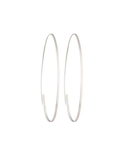 14k Magic Oval Flat Hoop Earrings, White Gold