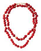Dark Coral Bead Necklace,
