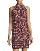 Floral-printed Sleeveless Shift Dress,