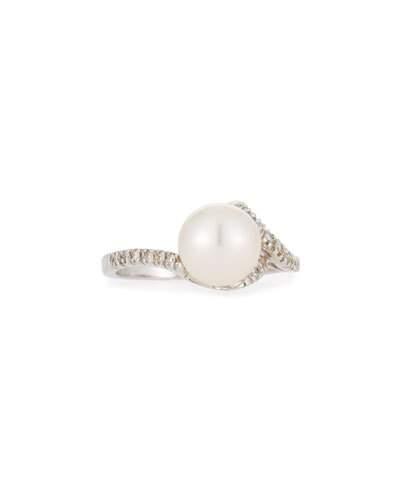 14k Asymmetric White Pearl & Diamond Ring,