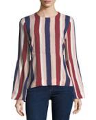 Sportswear Striped Long-sleeve Woven Top
