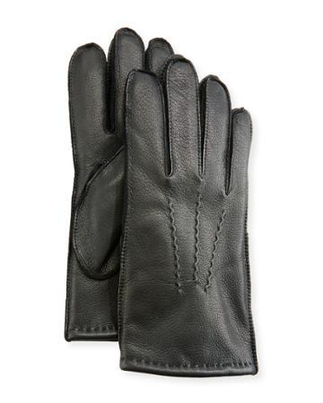 Men's Three-point-stitch Leather Gloves, Black