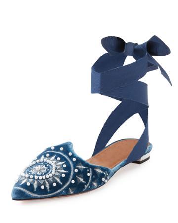 Stellar Embellished Velvet Ankle-wrap Flat