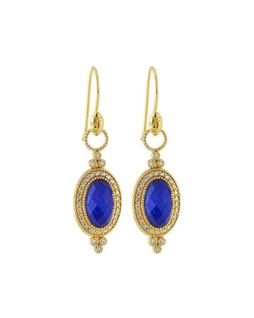 18k Provence Oval Drop Earrings,