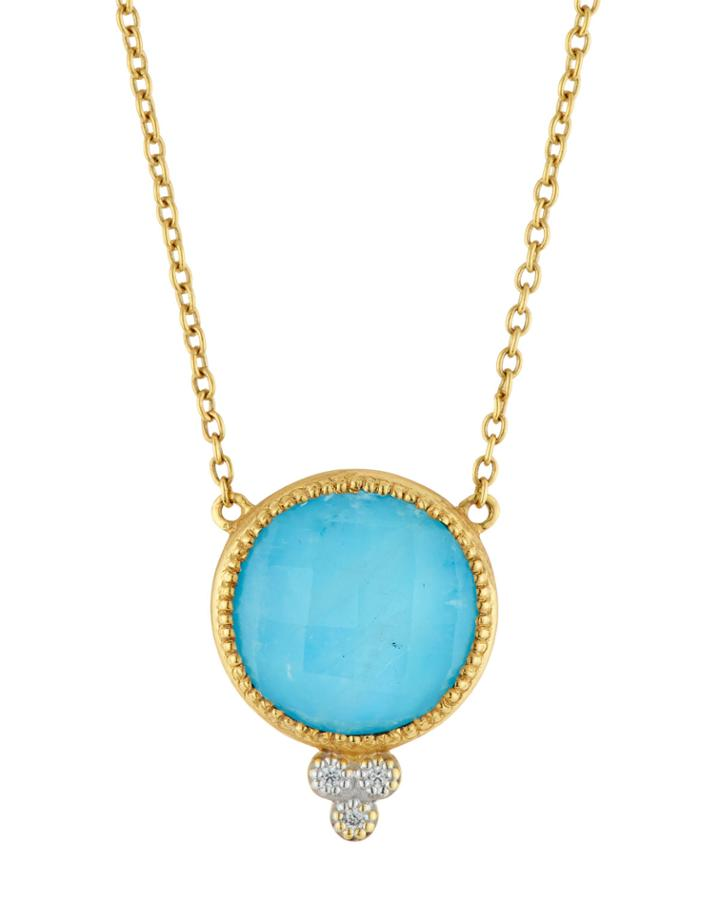 Provence 18k Gold Turquoise/diamond Pendant Necklace,