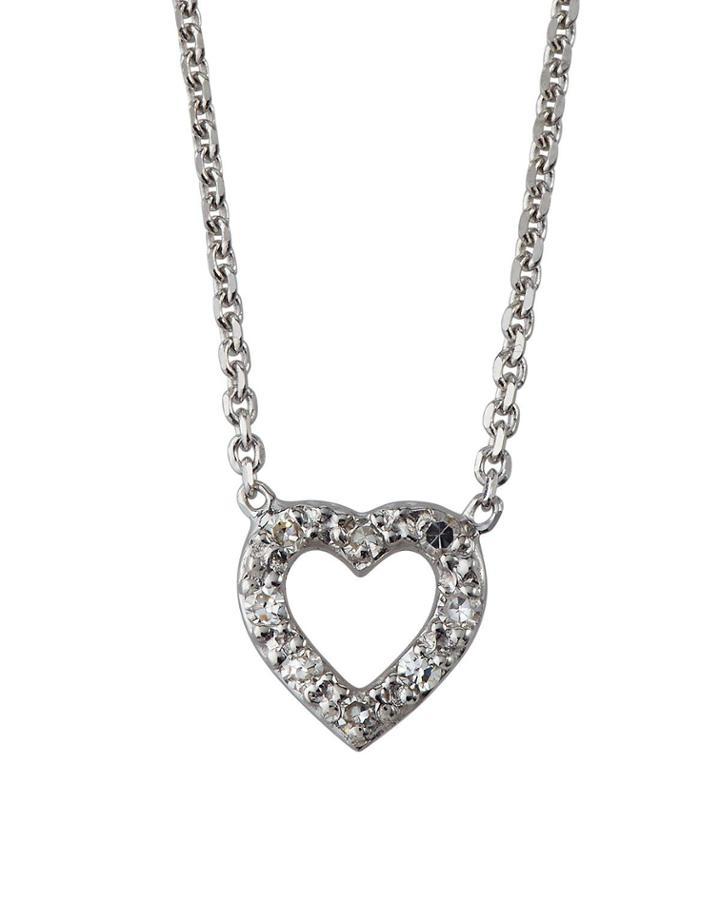 14k White Gold Open Diamond Heart Necklace
