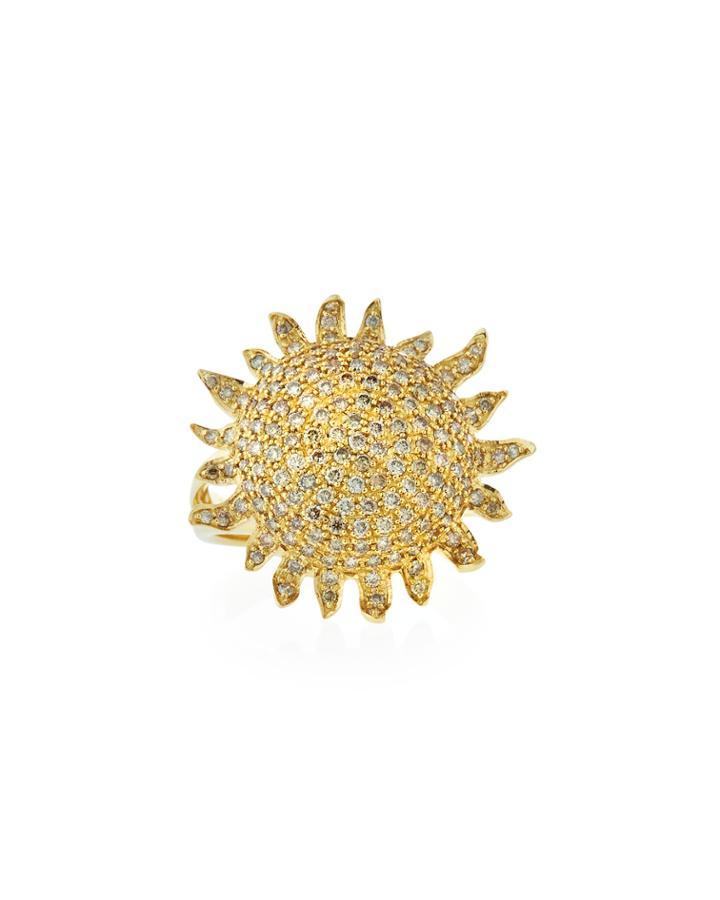 18k Diamond Sun Ring,