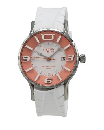 Rubber-strap Watch, White/orange