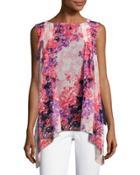 Floral-print Chiffon Blouse,