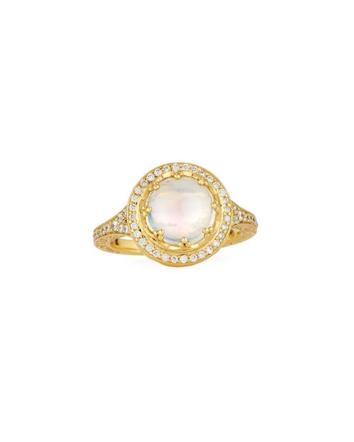 18k Moonstone Crown Ring,
