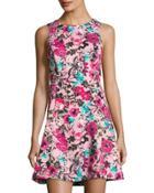 Floral-print A-line Dress,