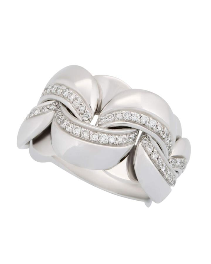 18k White Gold Diamond Curb-link Ring,