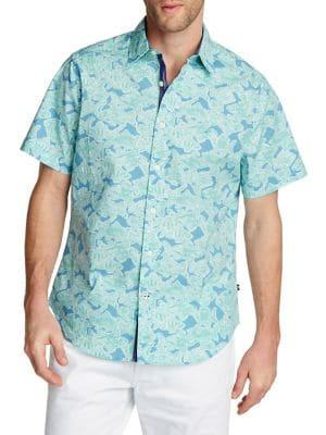 Nautica Printed Stretch Button-down Oxford Shirt