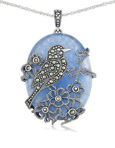 Lord & Taylor Blue Quartz And Sterling Silver Pendant Necklace