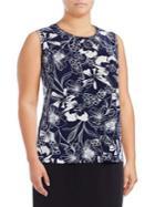 Nipon Boutique Plus Floral-print Sleeveless Top