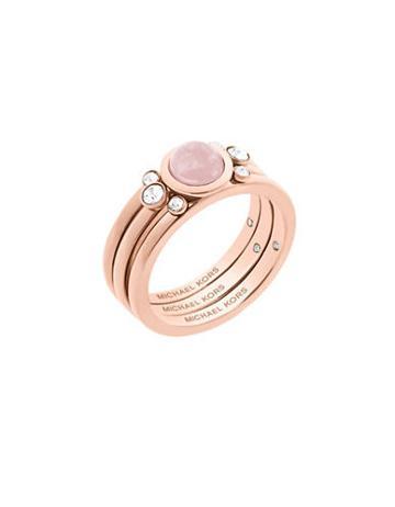 Michael Kors Easy Opulence Rose Quartz & Crystal Ring