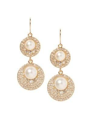 Vince Camuto Daytime Capsule Faux Pearl & Crystal Double Drop Earrings