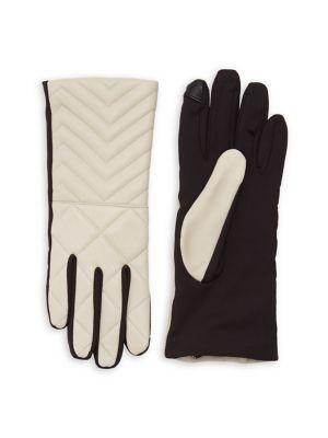 Lord & Taylor Quilted Leather-paneled Gloves
