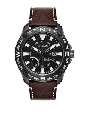 Citizen Eco-drive Stainless Steel Leather-strap Sports Watch