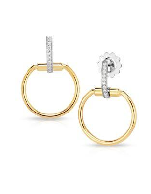 Roberto Coin Classic Parisienne Diamond And 18k White And Gold Drop Earrings