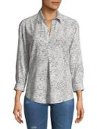 Design Lab Lord & Taylor Petite Pleated Long-sleeve Top