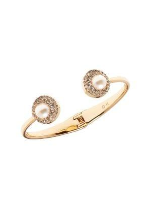Vince Camuto Daytime Capsule Faux Pearl & Crystal Cuff Bracelet