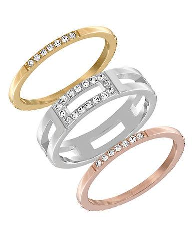 Swarovski Crystal Cubist Three-tone Ring Set