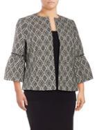 Nipon Boutique Plus Argyle Bell-sleeve Jacket