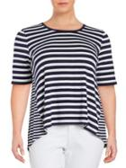 Lord & Taylor Roundneck Striped Hi-lo Blouse